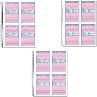 Adams Spiral Bound Phone Message Book, Carbonless Duplicate, 4 Messages per Page, 200 Sets per Book (SC1184D) (3 Pack)