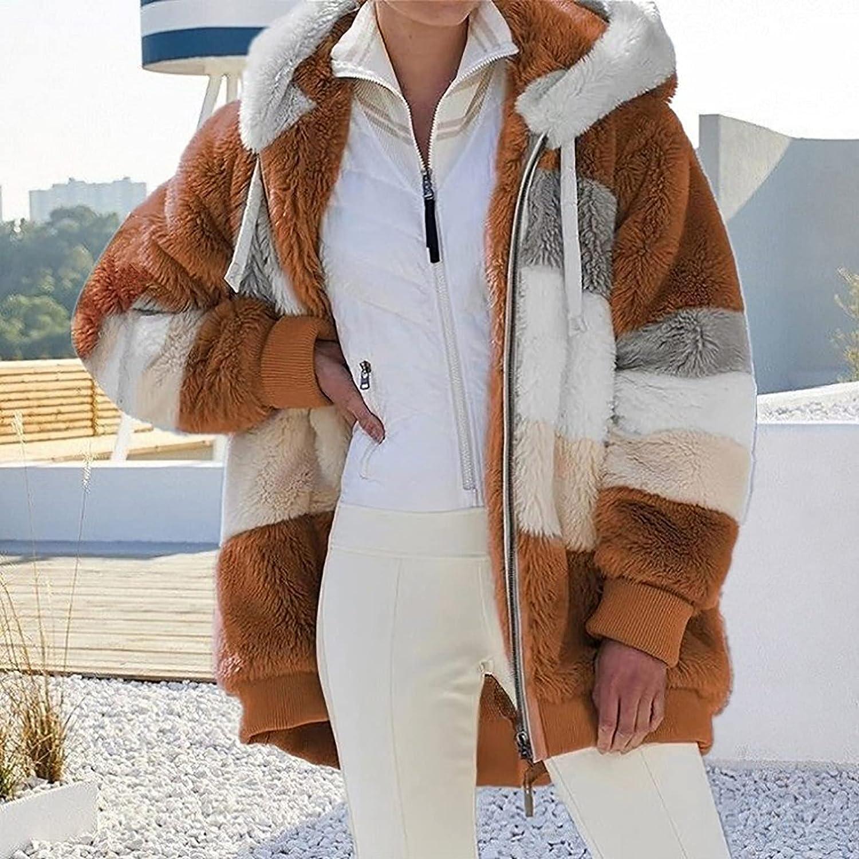 Winter Coats for Women,Women Plus Size Warm Plush Cardigan,Fashion Hooded Jacket Coat Loose Zip Outerwear