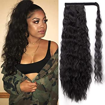 Amazon Com Stamped Glorious 22 Inch Long Corn Wave Ponytail Extension Magic Paste Heat Resistant Wavy Synthetic Wrap Around Ponytail Black Hairpiece For Women 1b Beauty