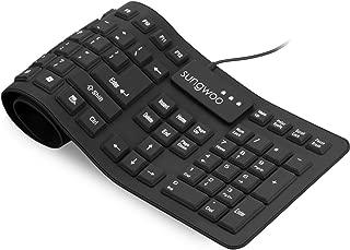 Sungwoo Foldable Silicone Keyboard USB Wired Standard Keyboard Waterproof Rollup Keyboard for PC Notebook Laptop, Full Size (Black)
