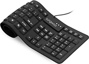 Sungwoo Foldable Silicone Keyboard USB Wired Standard Keyboard Waterproof Rollup Keyboard for PC Notebook Laptop, Full Size (Black)