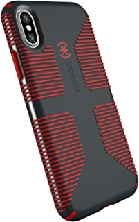 Speck Products CandyShell Grip Cell Phone Case for iPhone XS/iPhone X - Charcoal Grey/Dark Poppy Red