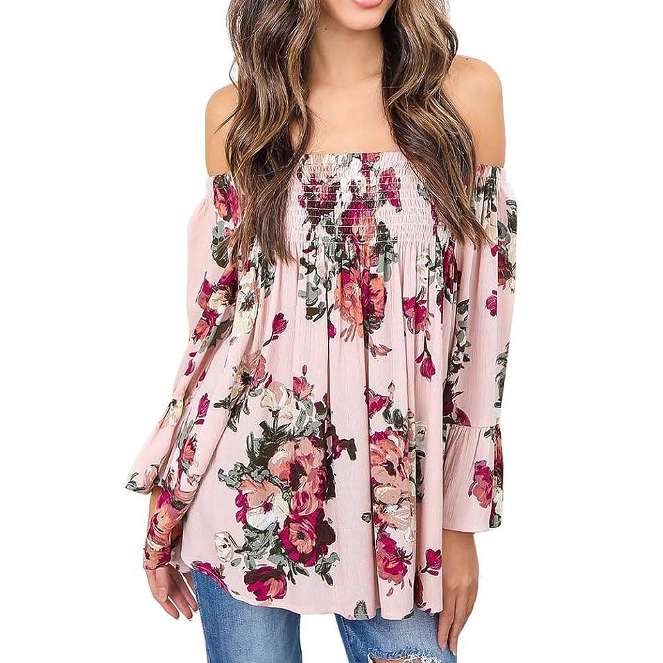 Hosam レディース トップス 洋服 花柄 ベアトップ おもしろ 欧米風 ゆったり 洋服 半袖 おしゃれ 夏 春 (3XL, ピンク)
