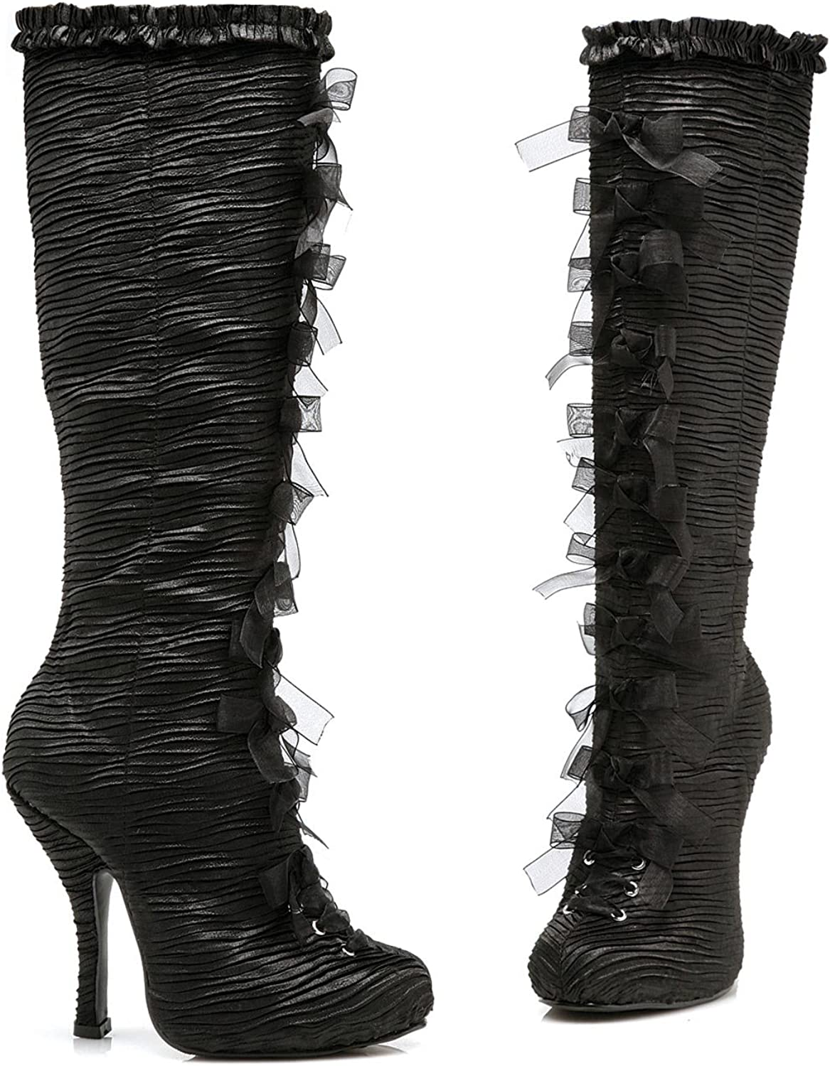 Ellie shoes Women's 423-TABATHA 4  Heel Satin Knee Boots With Innerzip