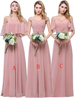 Chiffon Bridesmaid Dresses Long for Women Girls to Wedding Party Gowns
