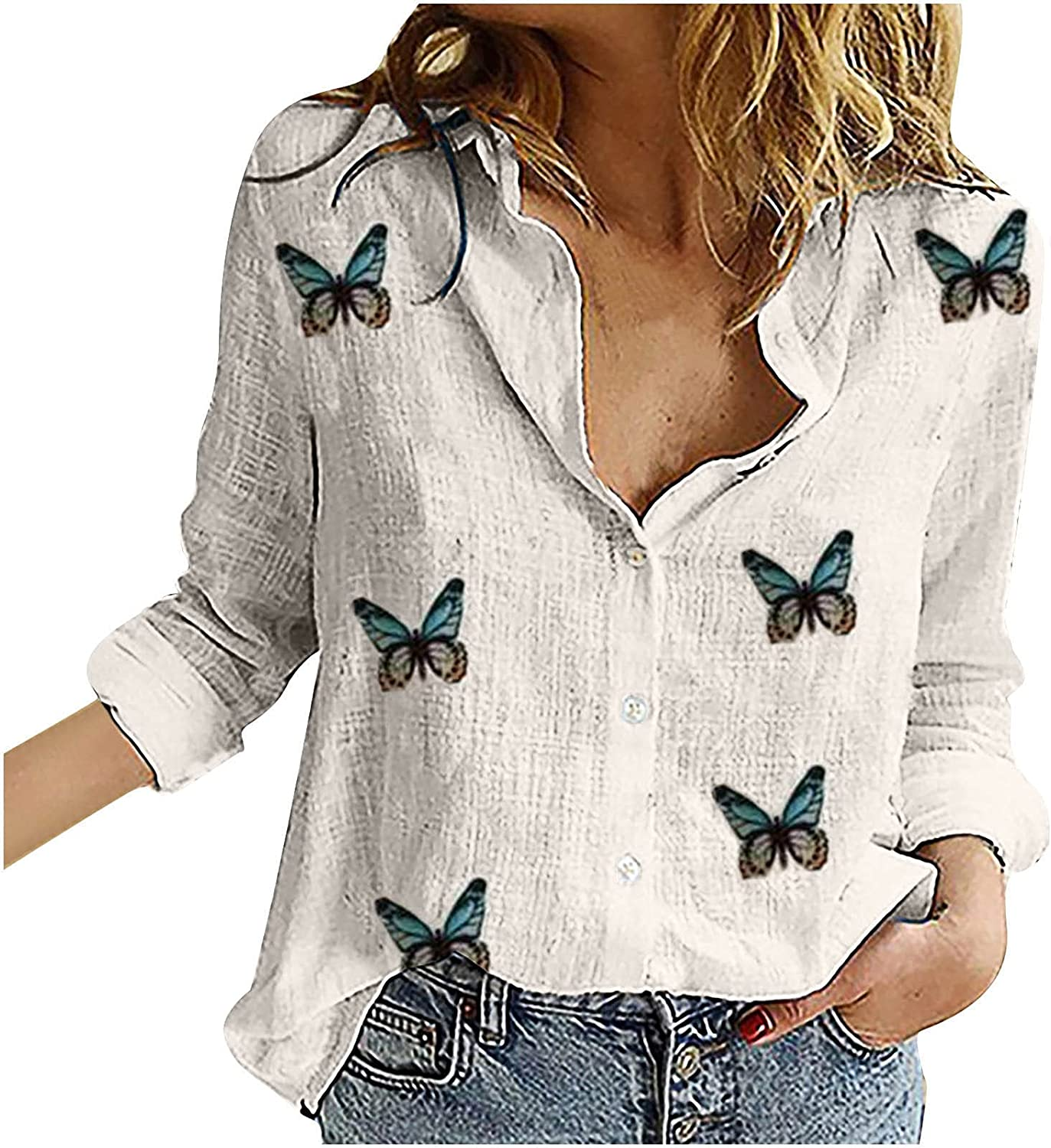 Womens Summer Linen Button Down Shirts Fashion Casual Sunflower and Butterfly Print Long Sleeve Loose Tops Blouse