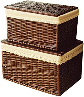 Panier de rangement Ensemble de 2 paniers de rangement en osier imprimés à la main avec couvercles, corbeilles de rangemen...