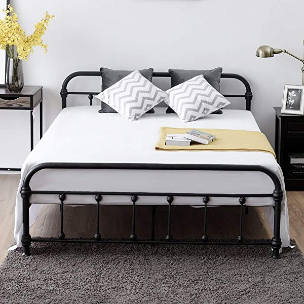 Giantex Queen Size Platform Bed Frame Metal Bed Frame With Headboard Footboard Steel Slat And 9 Leg Support For Mattress Foundation Box Spring Replacement Home Bedroom Furniture Black