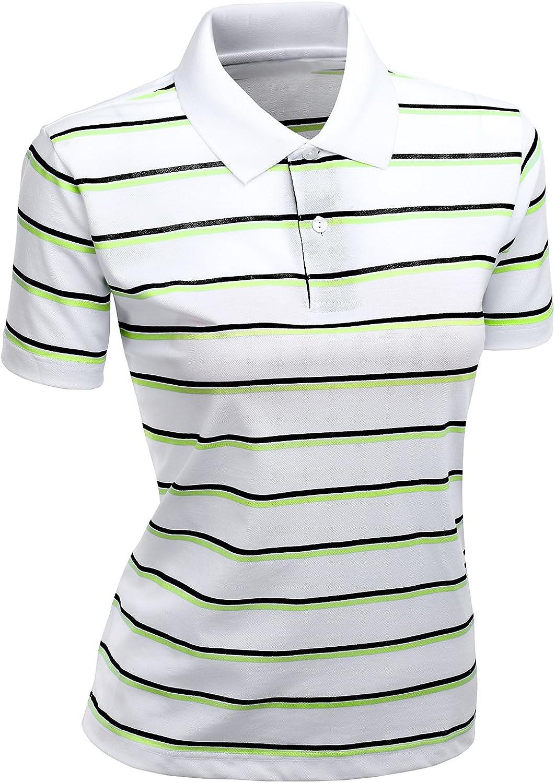 Women's 180-200 TC Silket Striped Polo Dri Fit Collar T-Shirt LightGreen XXXL