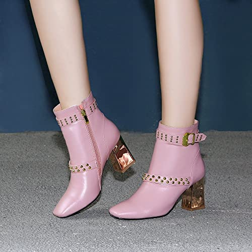 QIN&X Las mujeres del bloque talón Square Toe zapatos Botines cortos