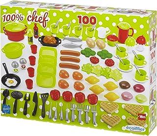 Jouets Ecoiffier – 2659 - Coffret dînette 100 % Chef Multicolore – Vaisselle, Ustensiles de Cuisine et Aliments – 100 Pièc...