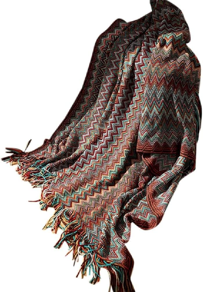 Bohemian Knitted Elegant Warm Throw Blanket with Tassel Multicolor Oakland Mall Wavy