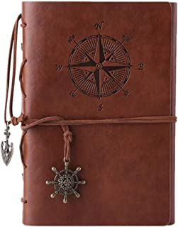 AUMA Creative Leather Writing Journal Notebook- Retro Pirate Ship Notebook , 7 Inches Vintage NauticalSpiral Bound Noteboo...
