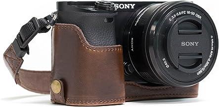 MegaGear Ever Ready Leder Kamera Halbtasche mit Trageriemen kompatibel mit Sony Alpha A6300, A6000