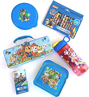 Nickelodeon Paw Patrol School Set! Includes Storage Tin + Sandwich Box + Snack Container + Water Bottle + Crayons with Ryder + Dogs! 5 Piece Supply Kit!