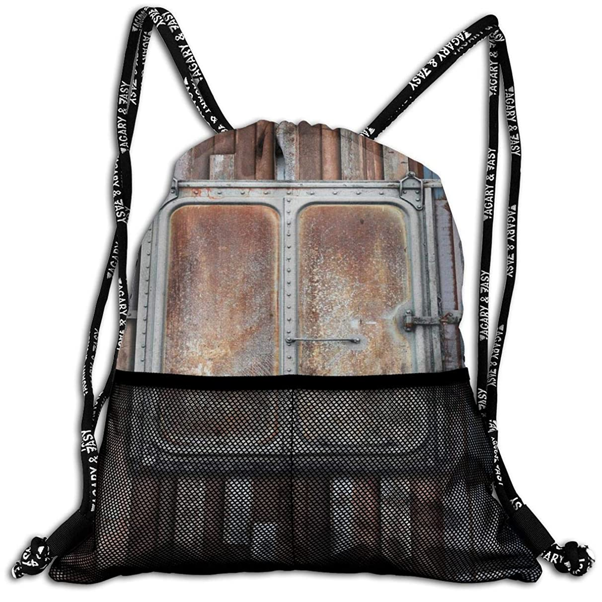 Drawstring Backpacks Bags,Marine Wooden Colored Planks With Old Rusty Ship Door Sea Life Art Print,5 Liter Capacity,Adjustable