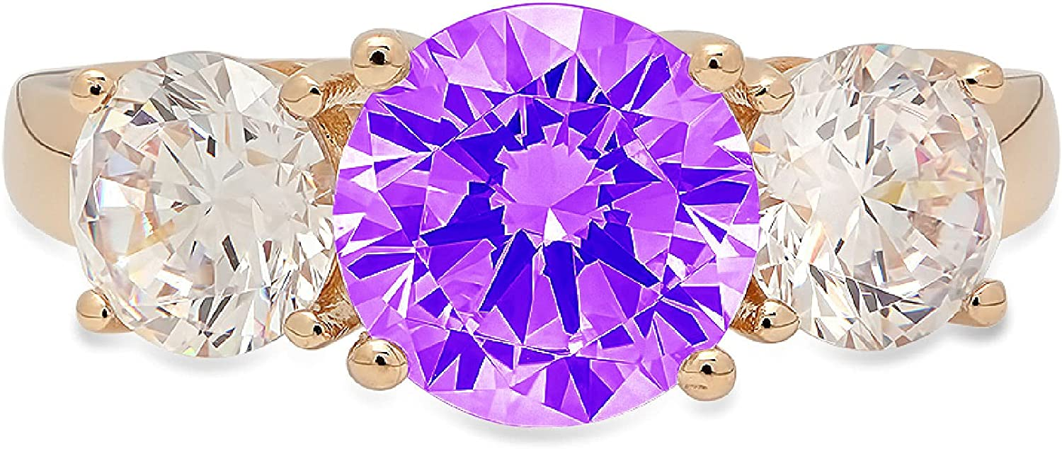 3.19ct Brilliant Round Cut Solitaire 3 stone Natural Purple Amethyst Gem Stone Ideal VVS1 Engagement Promise Statement Anniversary Bridal Wedding ring Real Solid 14k Yellow Gold