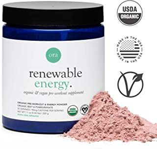 Ora Organic Natural Pre Workout Powder - Vegan, Clean Energy with a Jitter Free Boost, No Artificial Ingredients - Pre Workout Supplement for Men & Women with Beet Powder for Healthy Blood Flow