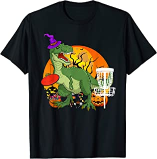 Dinosaur T-rex Witch Playing Disc Golf Halloween Costume T-Shirt