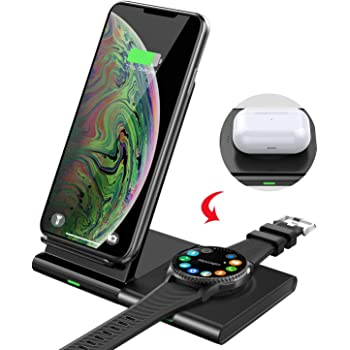 MoKo Wireless Charger Ladeständer, 10W Qi Induktive Dual Ladestation Schnelles Kabelloses Induktions Ladegerät Kompatibel mit iPhone 11Pro