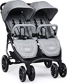 INFANS Double Stroller, Lightweight & Easy Folding Duo Baby Stroller with Side by Side Twin Seats, Night Reflective 5-Point Safety Harness, Suitable for 6 Months to 3 Years (Grey)