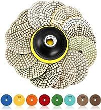 SPTA 15pcs 4inch / 100mm Húmedo, Seco de Pulidoras de Diamante Accesorios de Pulido de Piedras Conjunto 50#,100#,200#,400#,800#,1500#,3000#,6000# para pulidor de piedra mojada pulidora