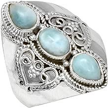YoTreasure Natural Larimar Solid 925 Sterling Silver Designer Ring