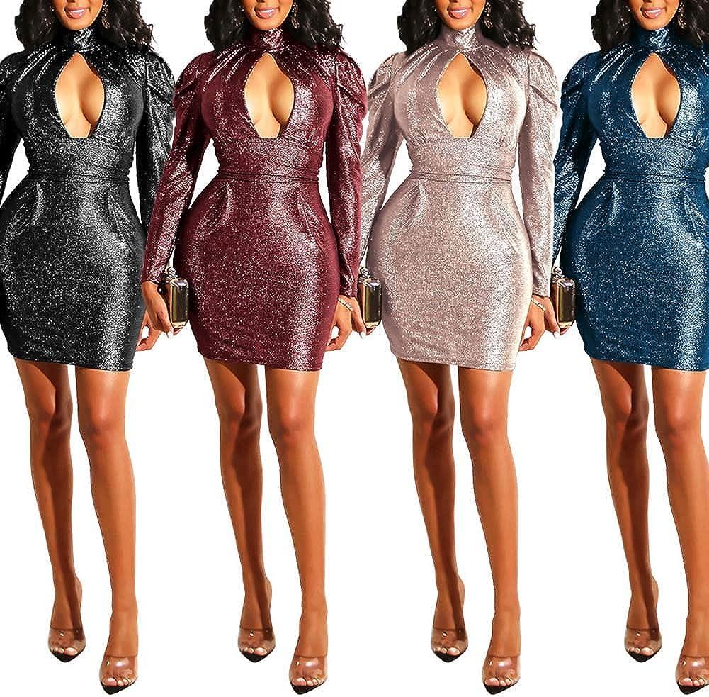 Klun Women Long Sleeve High Neck Cutout Low Cut Glitter Bodycon Evening Party Nightclub Mini Dress