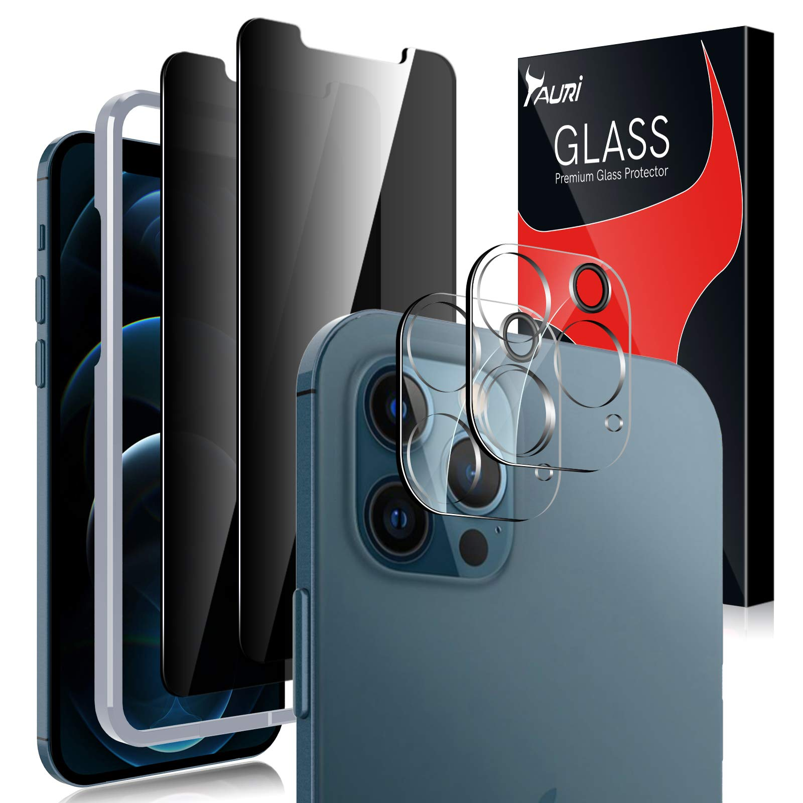 TAURI 4 Pack Compatible with 2 Pack iPhone 12 Pro Max Privacy Screen Protector 6.7 inch and 2 Pack Camera Lens Protector Tempered Glass Easy Installation Frame Bubble Free - Black