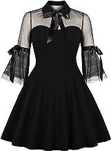 Wellwits Women's Keyhole Mesh Bell Sleeve Knee Swing Cocktail Dress