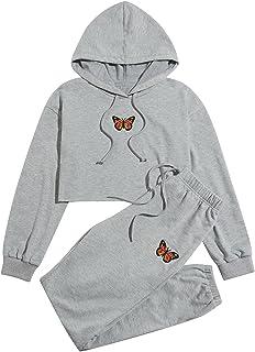 ملابس البنات الصغار سترة صوفية ذات غطاء رأس فراشة بأكمام طويلة + مجموعة ملابس رياضية للخريف والشتاء