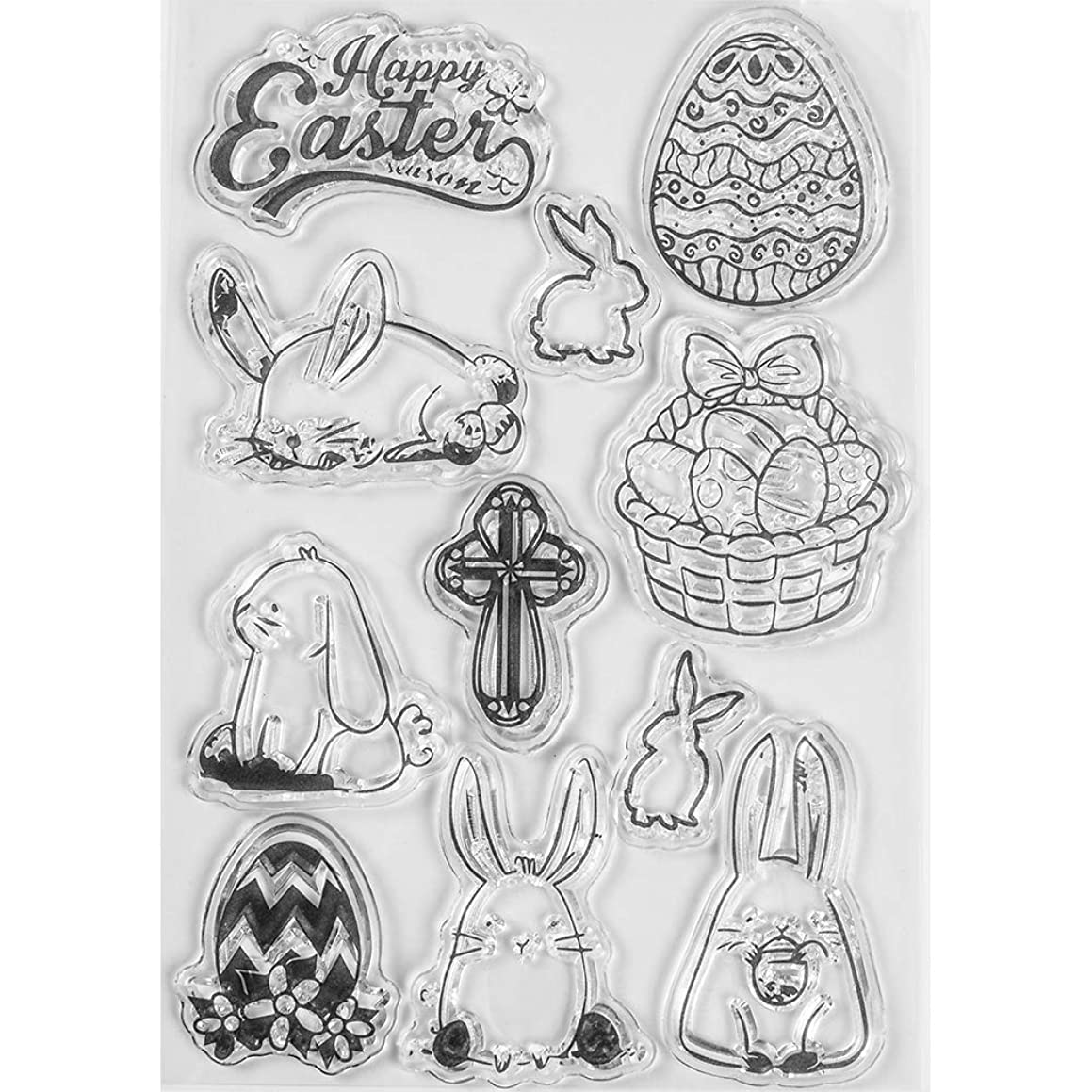 MaGuo Easter Clear Stamps Bunny Basket Egges Cross for Card Making Decoration and DIY Scrapbooking