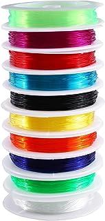 0.8mm Crystal Elastic String, 10 Rolls Beading Elastic Stretch String for Jewelry Making, Elastic Thread String Cord, Clea...