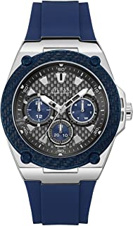 GUESS Mens Quartz Watch, Analog Display and Silicone Strap - W1049G1