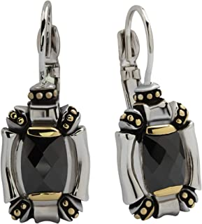 French Wire Black Cubic Zirconia Lever Back Earrings Made in The USA