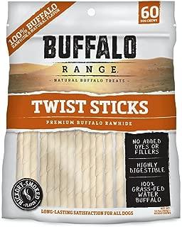 Buffalo Range Rawhide Dog Treats | Healthy, Grass-Fed Buffalo Raw Hide Chews | Hickory Smoked Flavor | Non-Jerky Twist, 60 Count