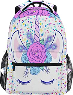 JOKERR Backpack, Cute Floral Unicorn Pattern Large Capacity Casual Printed School Shoulder Bag Daypack Travel Laptop Women Adults Boys Girls