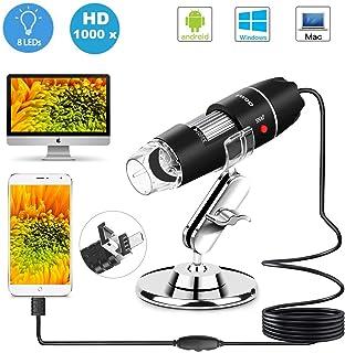 USB Mikroskop, 1.000x Zoom, 8 LEDs, USB 2.0, digitale Mini Mikroskop Kamera mit OTG Adapter und Metallständer, kompatibel für Android, Mac, Windows, Linux