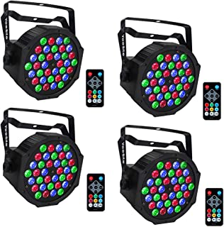 Par Lighting for Stage Lights, YeeSite 36LEDs RGB LED Par Can Sound Activated by Remote and DMX Control Up Lights for Church Wedding Stage Lighting DJ Party - 4 Pack