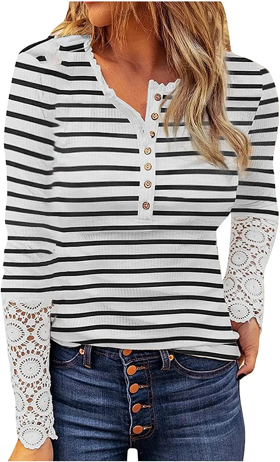 Womens Lace Stitching Striped Slim Pullover Long Sleeve Crewneck Button Up Snap Casual Office Workwear Blouse Tunics