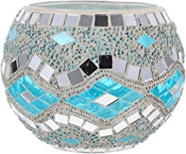 FRCOLOR Mosaic Glass Candle Holder Mosaic Tea Light Holders Mosaic Candle Mosaic Votives Candle Holders Circle Votive Hold...