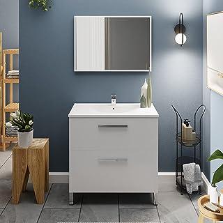 Crocket meuble salle de bain wc Rysy avec vasque et miroir - en bois blanc - meuble sous lavabo de rangement - 80 x 80 x 45