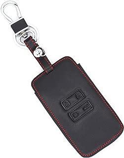 MJKEY 4 Buttons Genuine Leather Keyless Entry Remote Smart Key Case Fob Cover Bag Holder Protector For Renault Koleos Kadjar Scenic Megane Talisman Captur Espace Clio Master Bus 2016 2017 2018 Gift