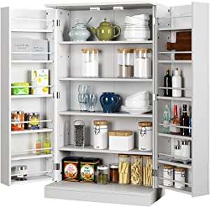 HOMEFORT Kitchen Pantry Cabinet, Storage Cabinet with 6 Adjustable Shelves, Space Saving Cupboard Cabinet for Kitchen, Garage, Pantry, Office, Patio (White)