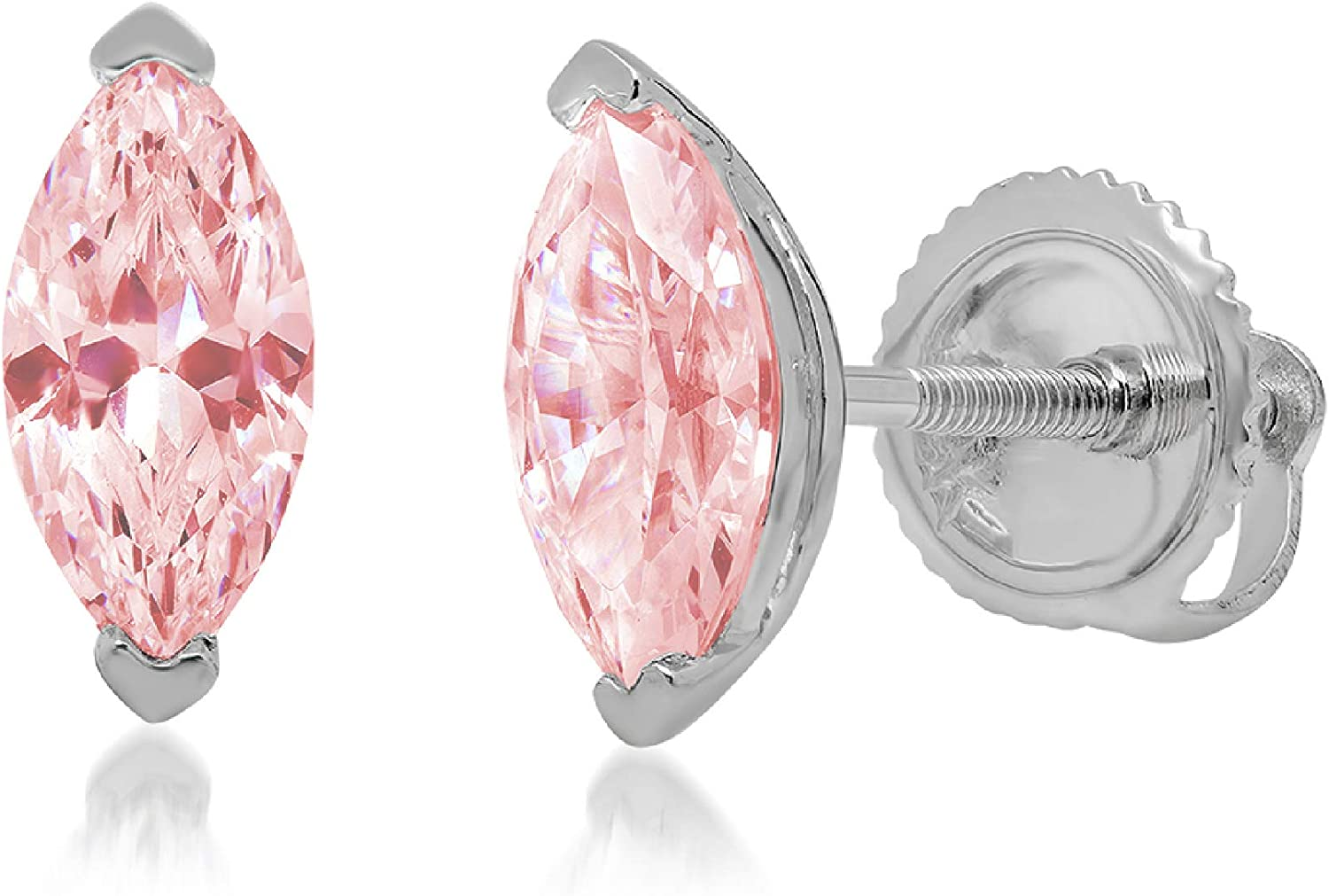 0.94cttw Marquise Cut ideal VVS1 Conflict Free Gemstone Solitaire Genuine Pink CZ Unisex Designer Stud Earrings Solid 14k White Gold Screw Back