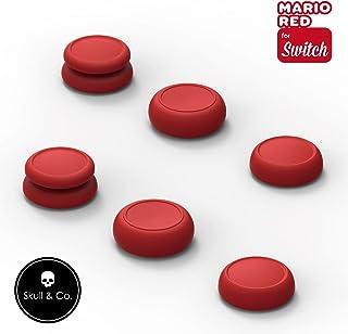 Skull & Co. Skin、CQC及びFPSゲームハンドルのロッカーアームキャップ(任天堂Switch Joy-Conハンドル用) - スーパーマリオ オデッセイ+レッド、3組(6個入り)