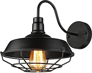 BAYCHEER Industrial Retro Style Cage Large Wall Sconce Wall Lamp Loft Metal Fixture for Restaurant Bar Warehouse Black