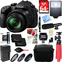 Panasonic LUMIX FZ1000 4K QFHD/HD 20.1MP 16X Long Zoom Black Digital Camera + 64GB Dual Battery Accessory Bundle
