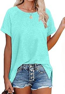 Womens T Shirts Short Sleeve Crewneck Tees Plain Basic Tops