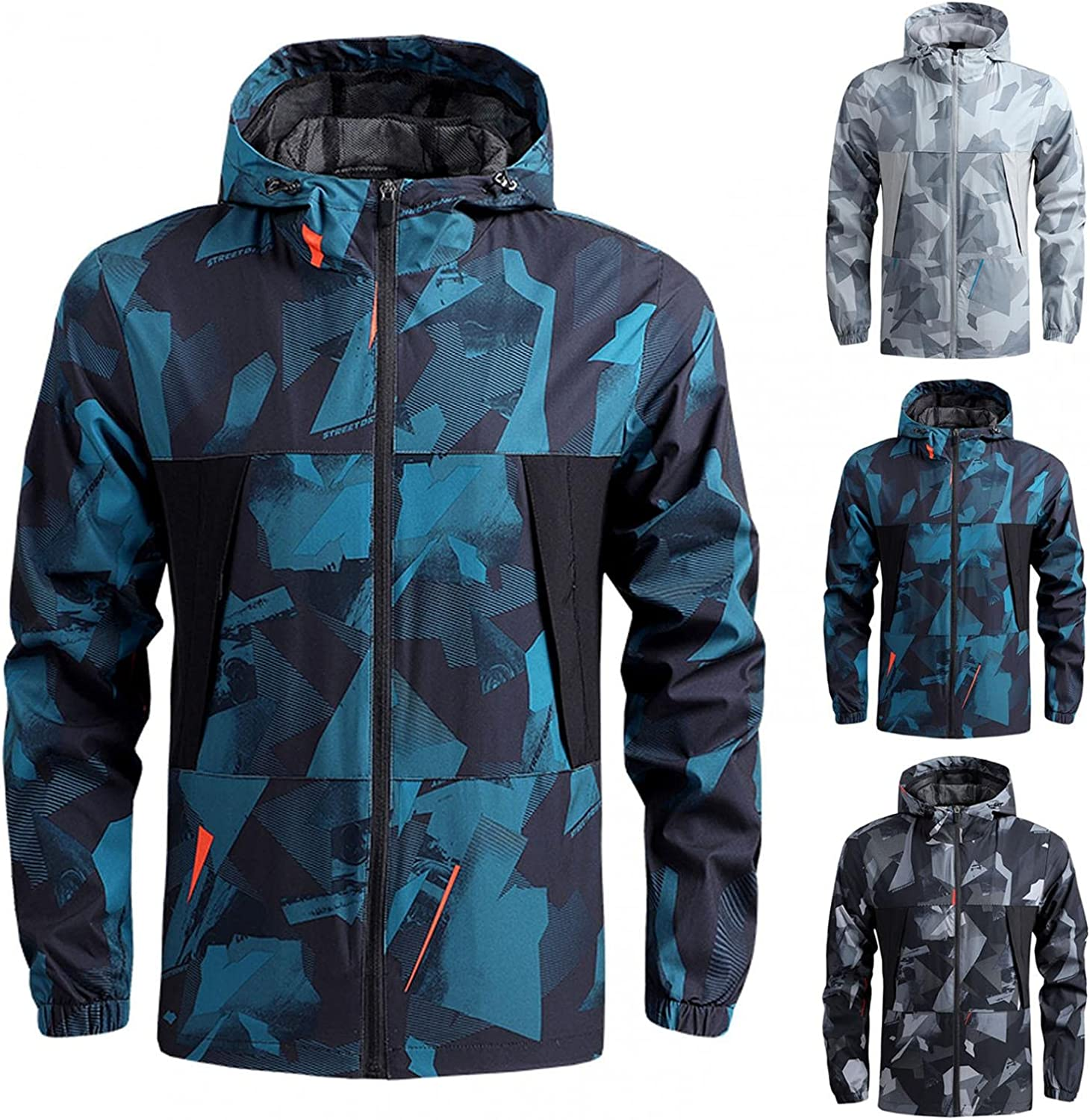 JSPOYOU Mens Jackets Lightweight Hoodie Graphic Print Waterproof Thin Coats Big & Tall Outdoor Breathable Sports Coat